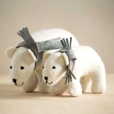 Hand Felted Polar Bear Duo