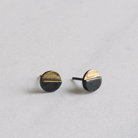 Duo Dot Mixed Metal Earrings