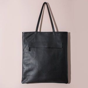 MULXIPLY Leather Magazine Tote - Black