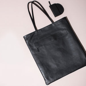 Leather Magazine Tote - Black