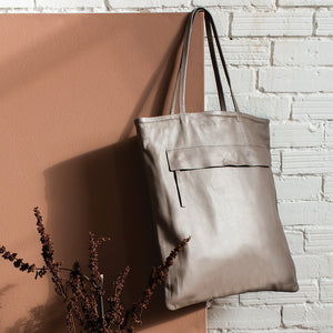 Leather Magazine Tote - Fawn