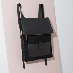 Felt + Leather Backpack | Black