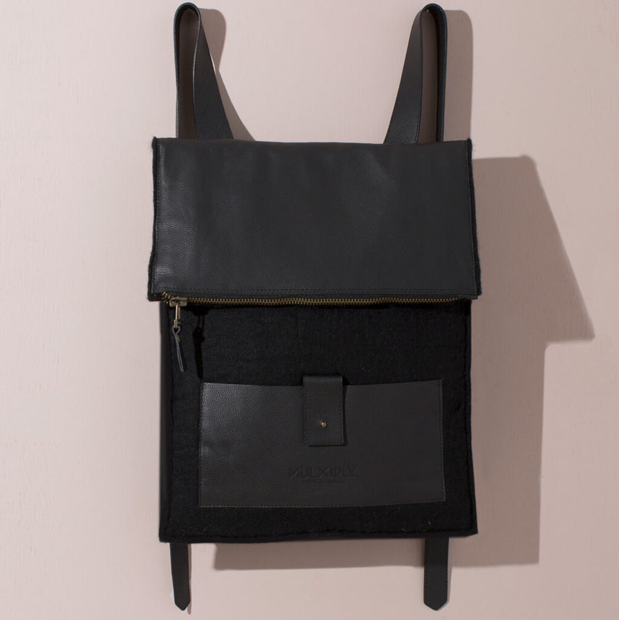 MULXIPLY Felt + Leather Backpack - Black