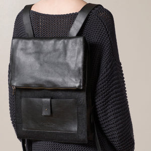 Felt + Leather Backpack - Black