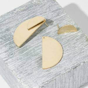 Balance Half-Circle Two-in-One Brass Earrings by MULXIPLY hand forged  by master artisans in Nepal