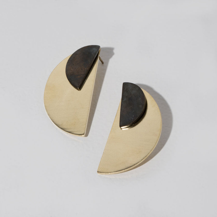 Balance Half-Circle Two-in-One Mixed Metal Earrings by MULXIPLY hand forged  by master artisans in Nepal