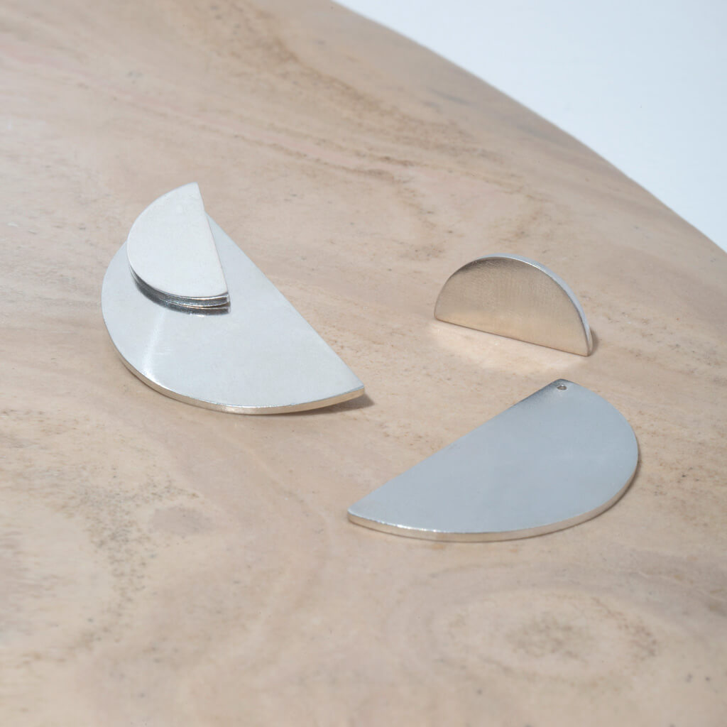 Balance Half-Circle Two-in-One Earrings designed to be worn three different ways