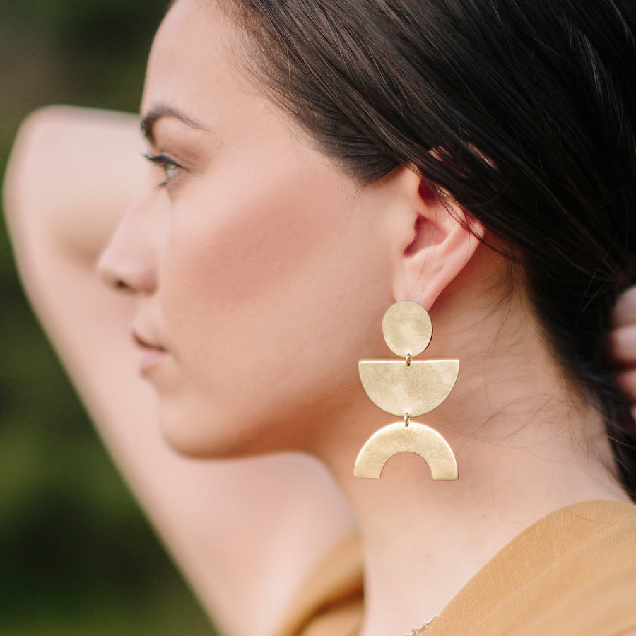 Concentric shapes combine to form the perfect balance with these bold ethically made earrings.