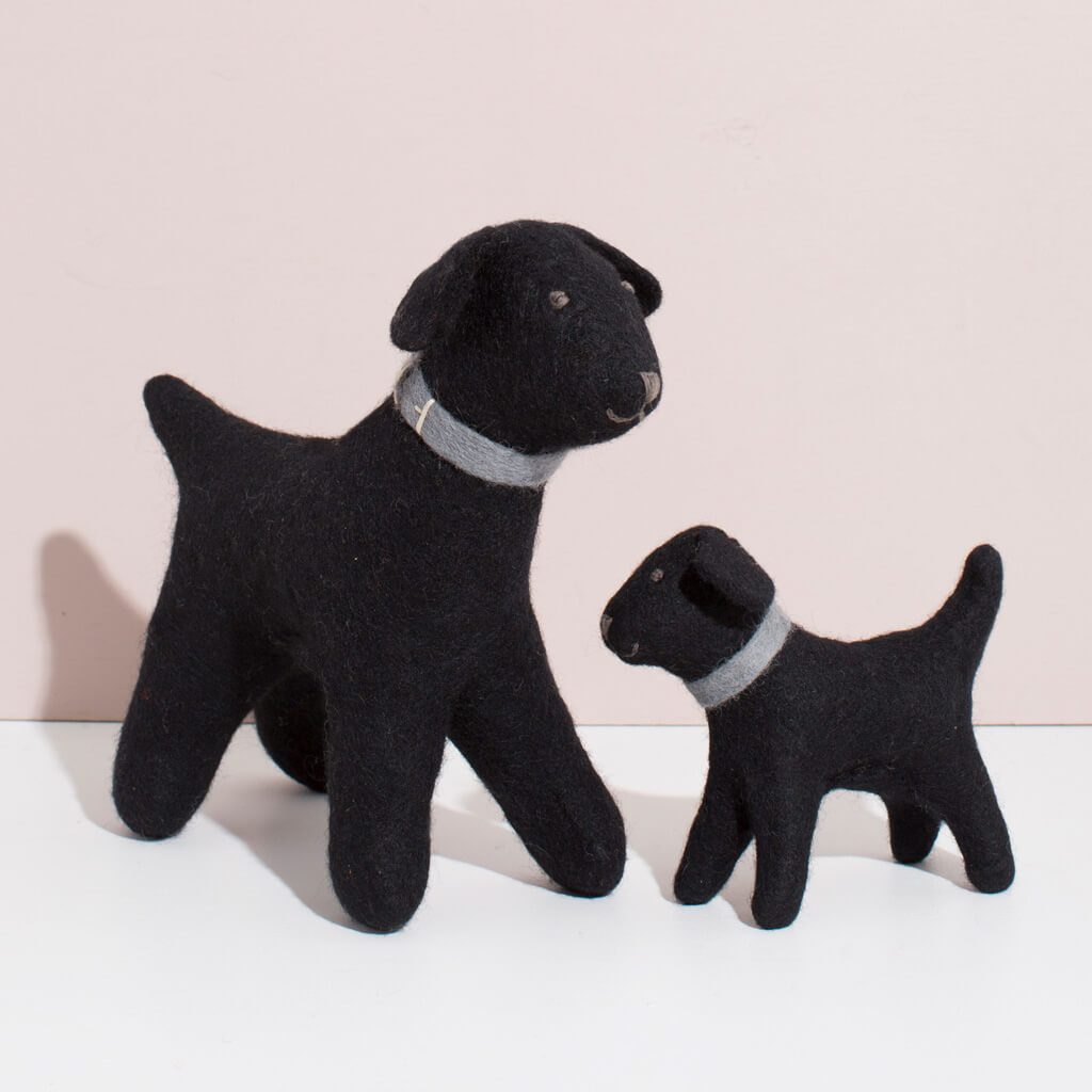 MULXIPLY Hand Felted Black Labrador Duo Stuffed Animal