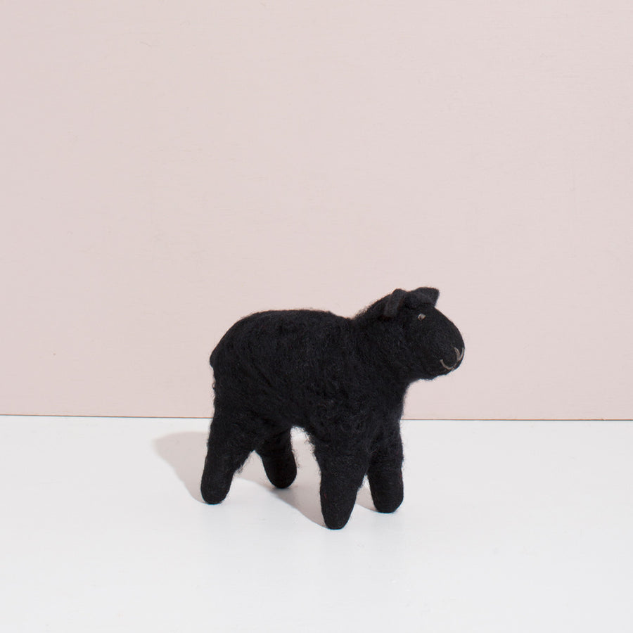 Hand Felted Small Sheep | Black