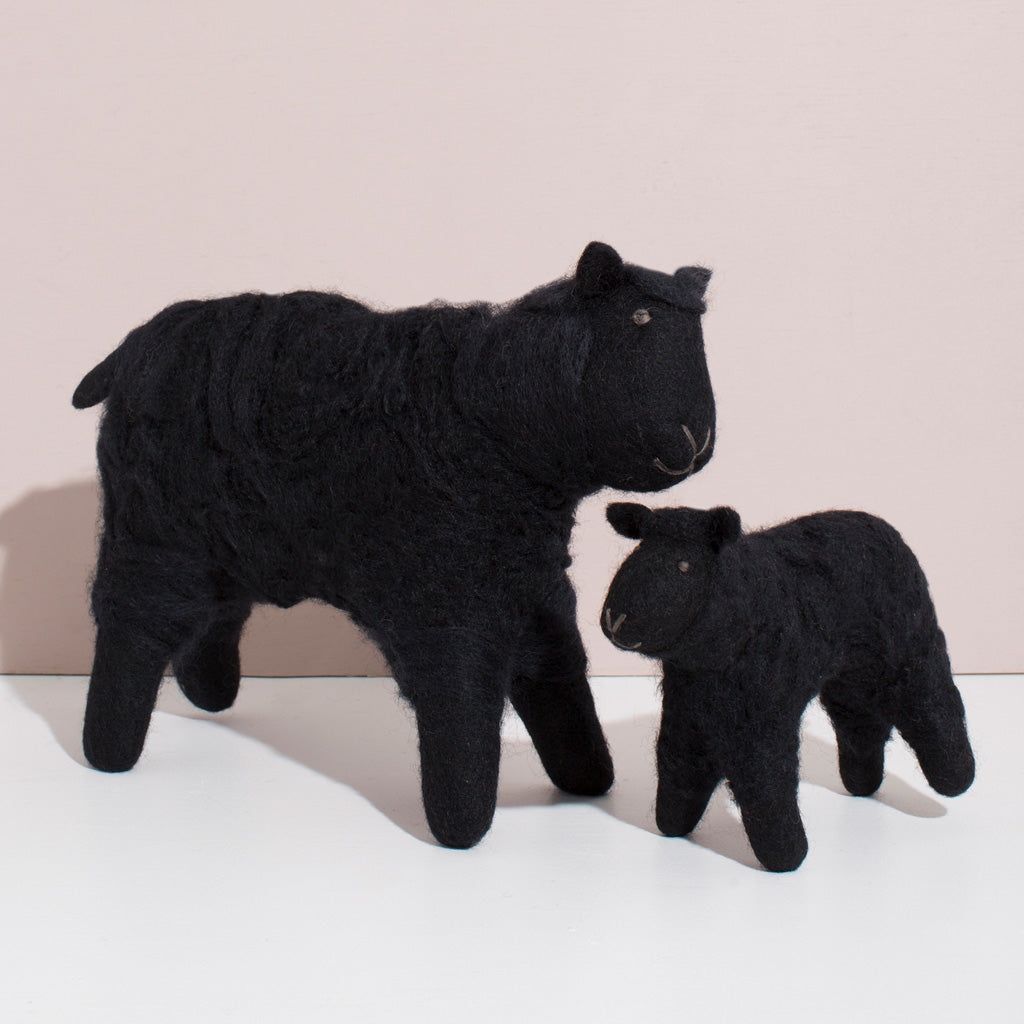 MULXIPLY Hand Felted Black Sheep Duo Stuffed Animal