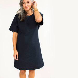 Flattering a-line black dress made with 100% natural cotton by fair trade artisans in Nepal.