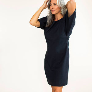 Generously cut butterfly sleeves make this ethically made little black dress perfect for your capsule wardrobe.
