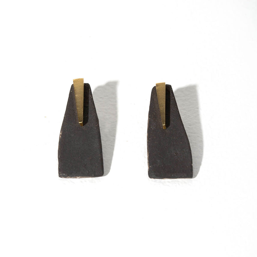 MULXIPLY and Campfire Studio Pillar 2-in-1 Earrings - Charcoal + Brass