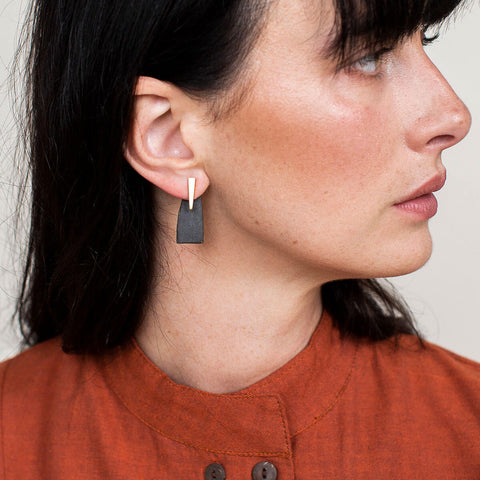 Pillar 2-in-1 Earrings | Charcoal + Brass