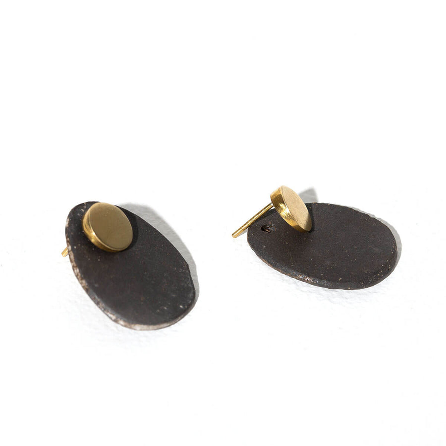 MULXIPLY Stone 2-in-1 Earrings - Charcoal + Brass