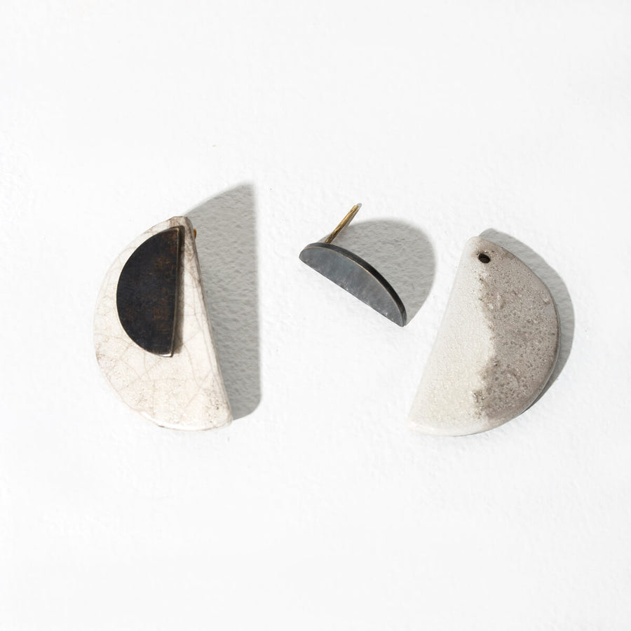 MULXIPLY and Campfire Pottery Half Moon 2-in-1 Earrings - Raku + Oxidized Brass
