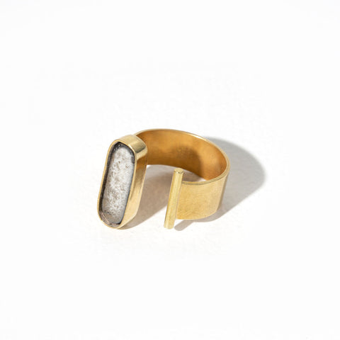 Oval Adjustable Ring | Raku + Brass