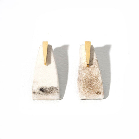 Pillar 2-in-1 Earrings | Raku + Brass