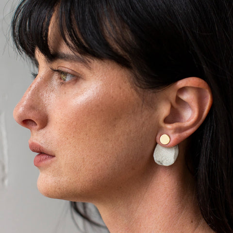 Stone 2-in-1 Earrings | Raku + Brass