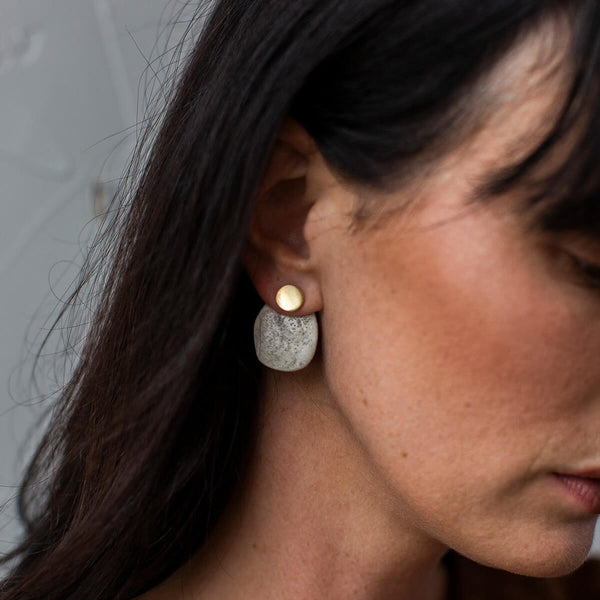 Stone 2-in-1 Earrings | Charcoal + Brass