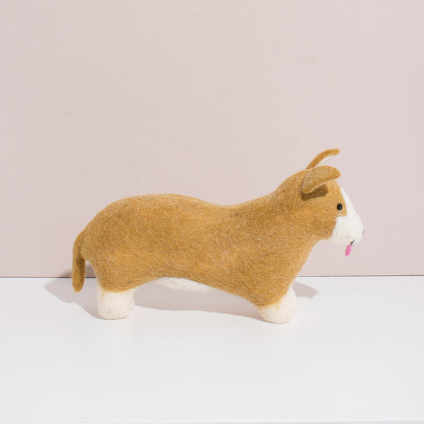 Hand Felted Large Corgi Dog