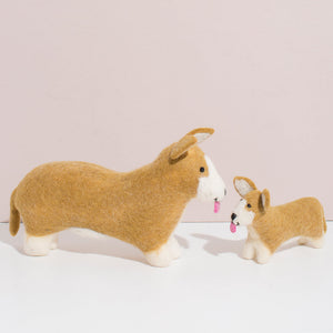 Hand Felted Corgi Duo