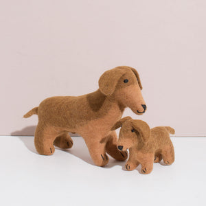 MULXIPLY Hand Felted Dachshund Duo Stuffed Animals