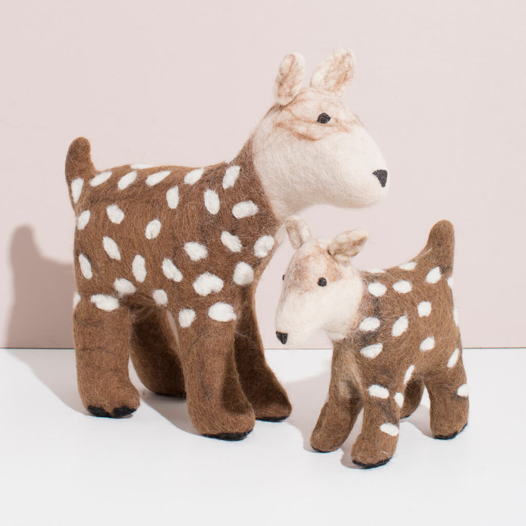 MULXIPLY Hand Felted Deer Duo Stuffed Animal