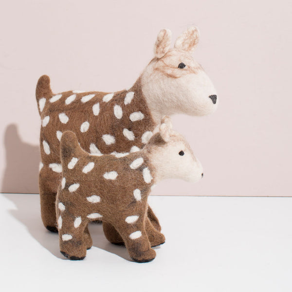 Hand Felted Deer Duo