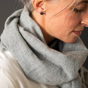 Merino Woven Scarf - Light Grey