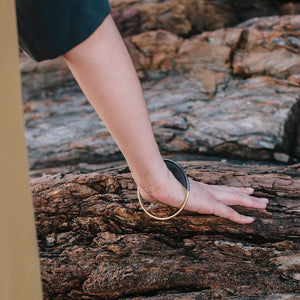 Minimalist statement bangle ethically made for the ethical wardrobe inspired by nature.