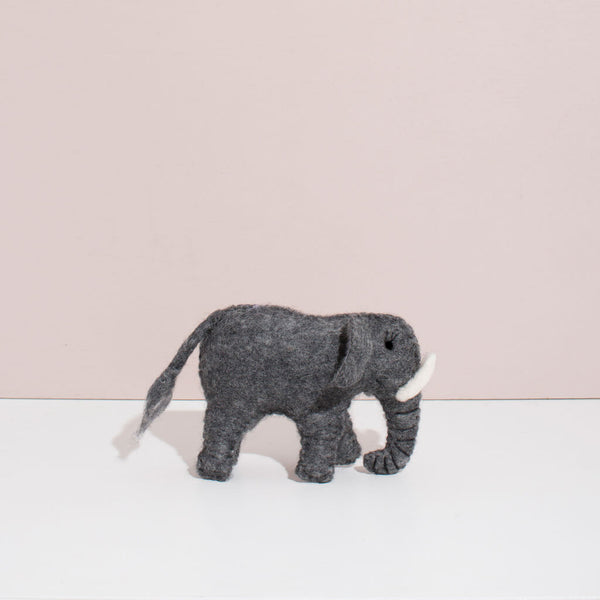 Hand Felted Elephant Duo<br>Mama and Baby