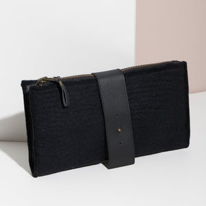 MULXIPLY Felt + Leather Foldover Clutch
