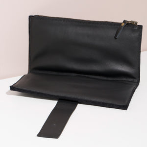 Felt + Leather Foldover Clutch