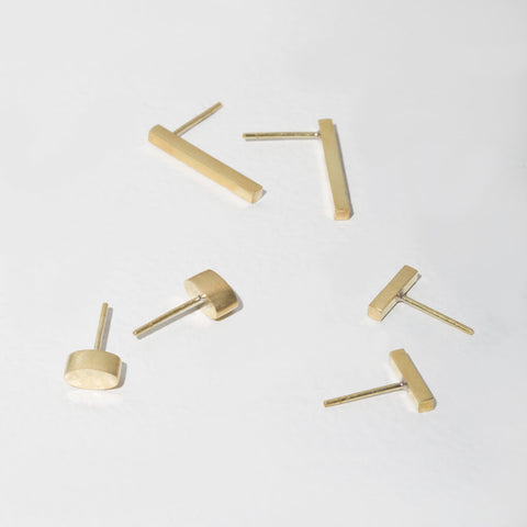 Forage Stud Earring Set of 3 Pairs | Brass