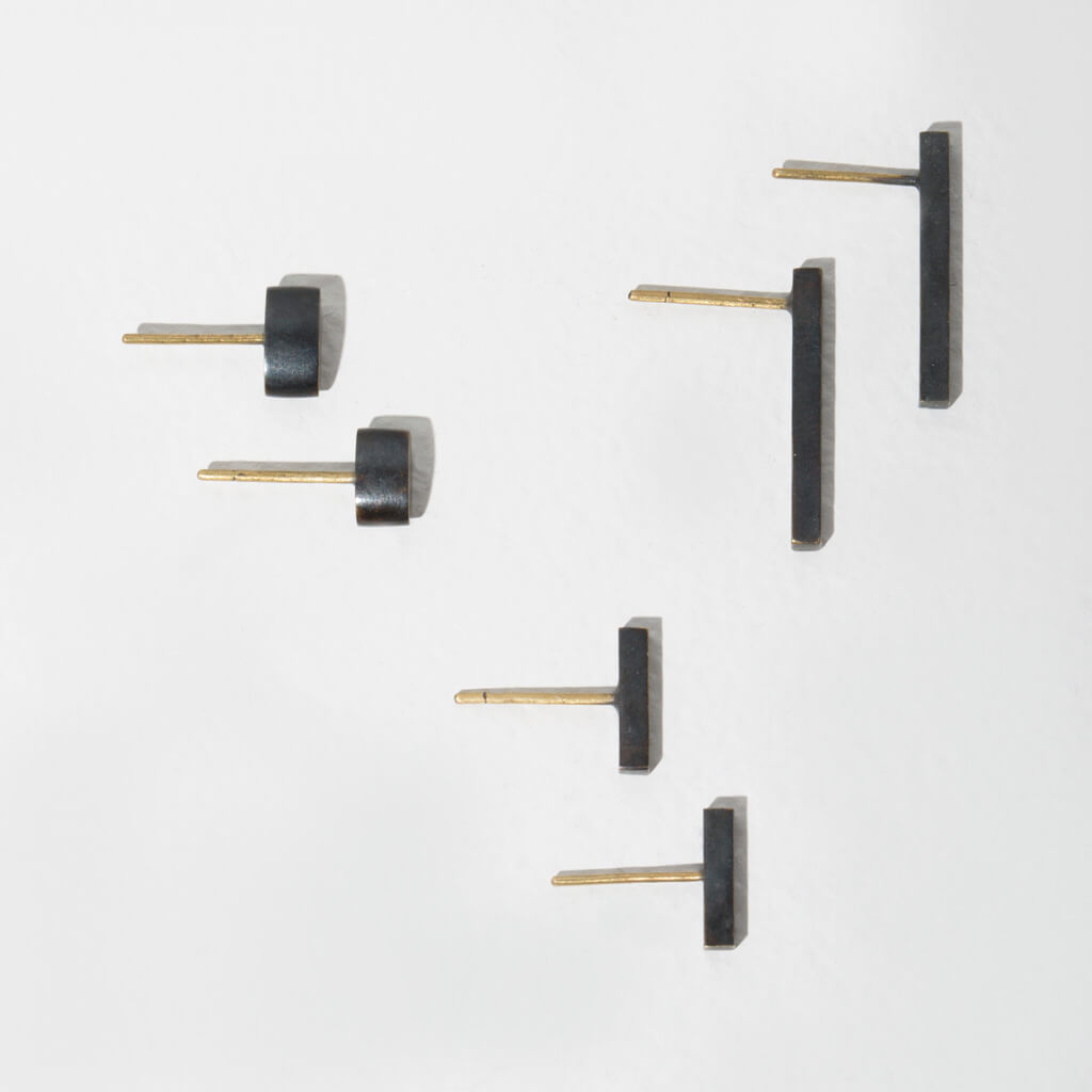 MULXIPLY Forage Minimalist Stud Earring Set of 3 Pairs - Oxidized Brass