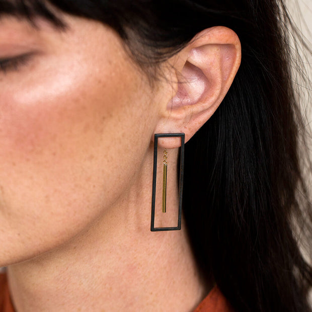 Foundation Convertible Earrings | Oxidized Brass 1