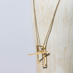 MULXIPLY Foundation Lariat Necklace - Brass