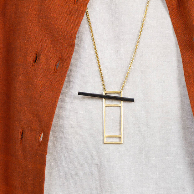 Foundation Lariat Necklace   Mixed Metals 1