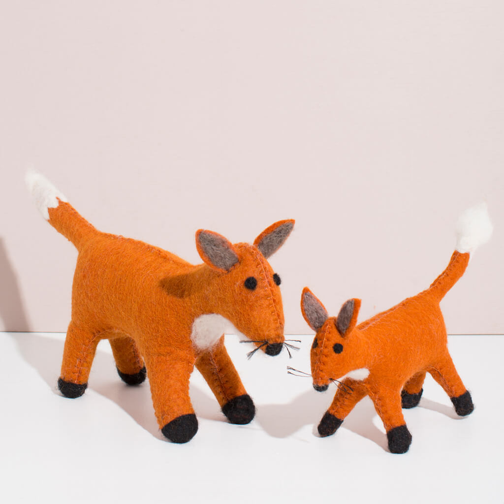 MULXIPLY Hand Felted Fox Duo Stuffed Animals