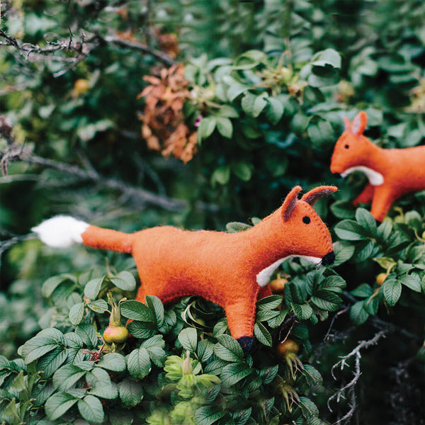 Hand Felted Fox Duo