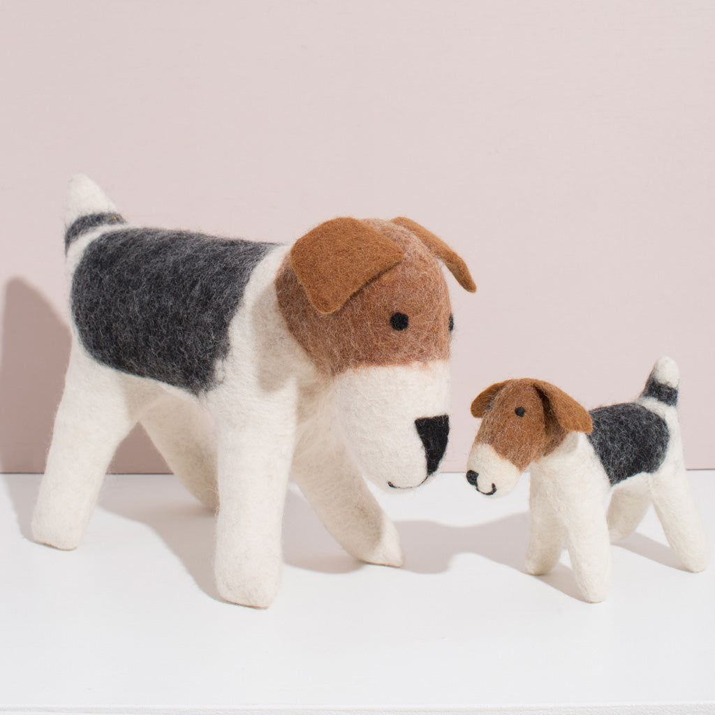 MULXIPLY Hand Felted Terrier Duo Stuffed Animals