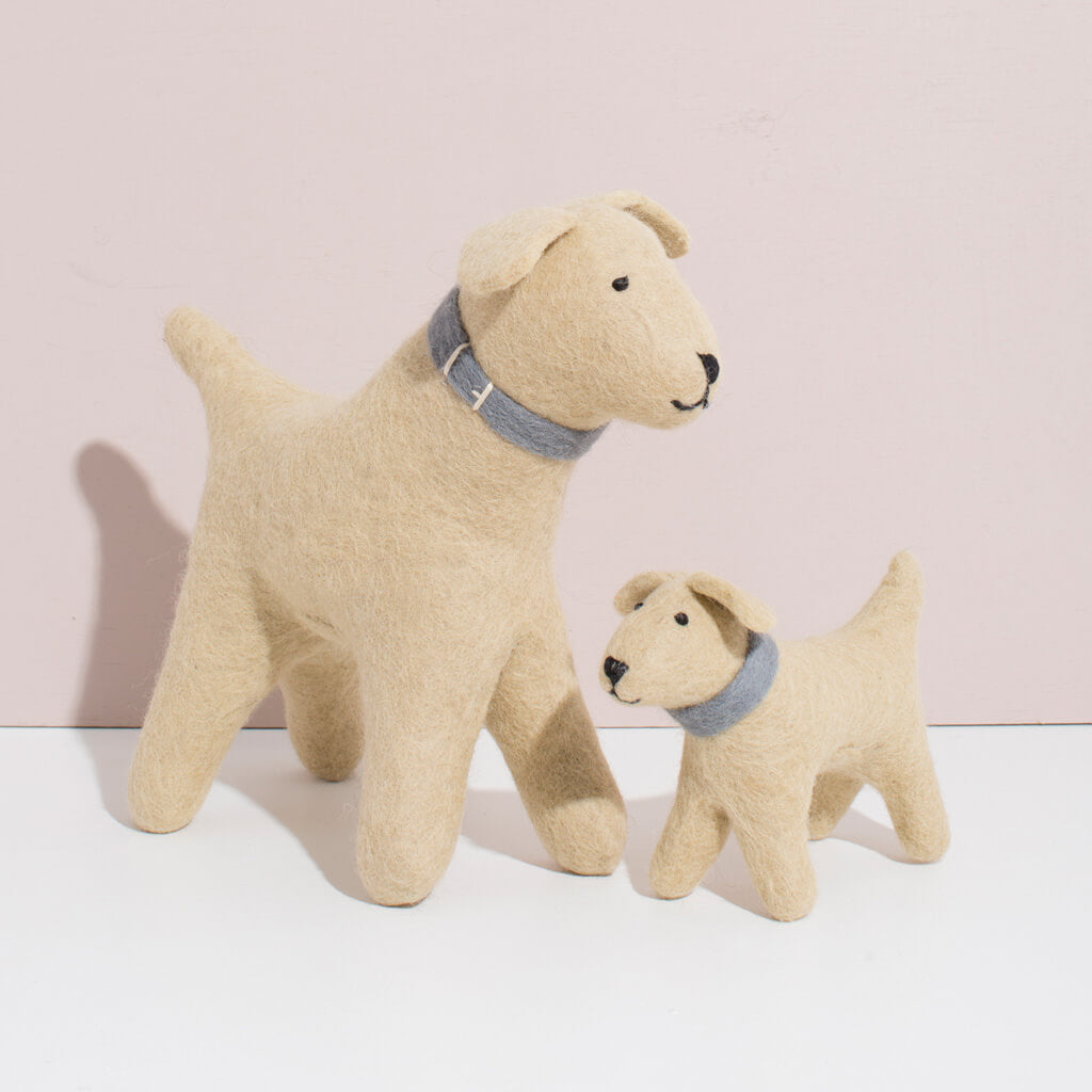 MULXIPLY Hand Felted Golden Retriever Duo Stuffed Animals