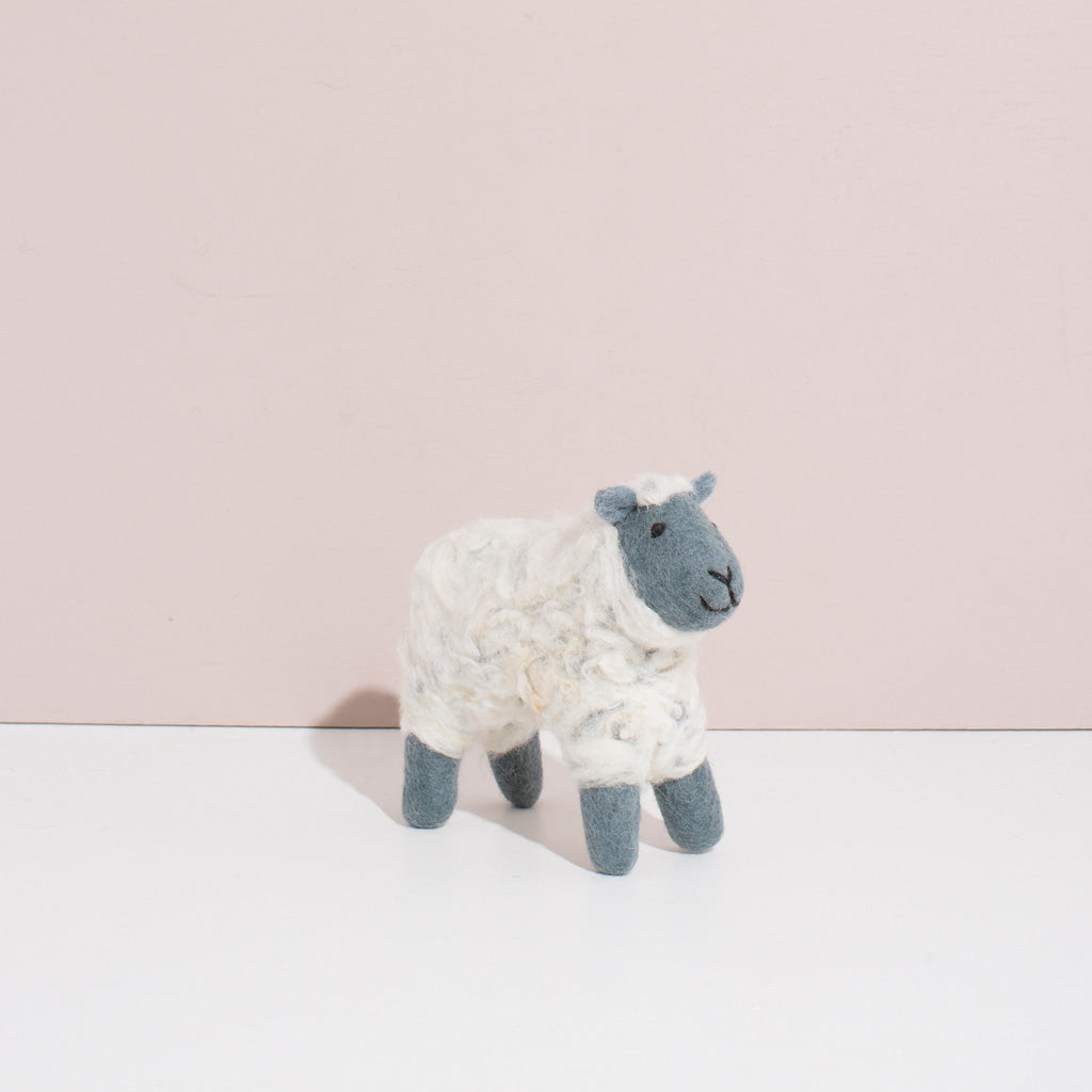 MULXIPLY Hand Felted Grey Sheep - Small Stuffed Animal