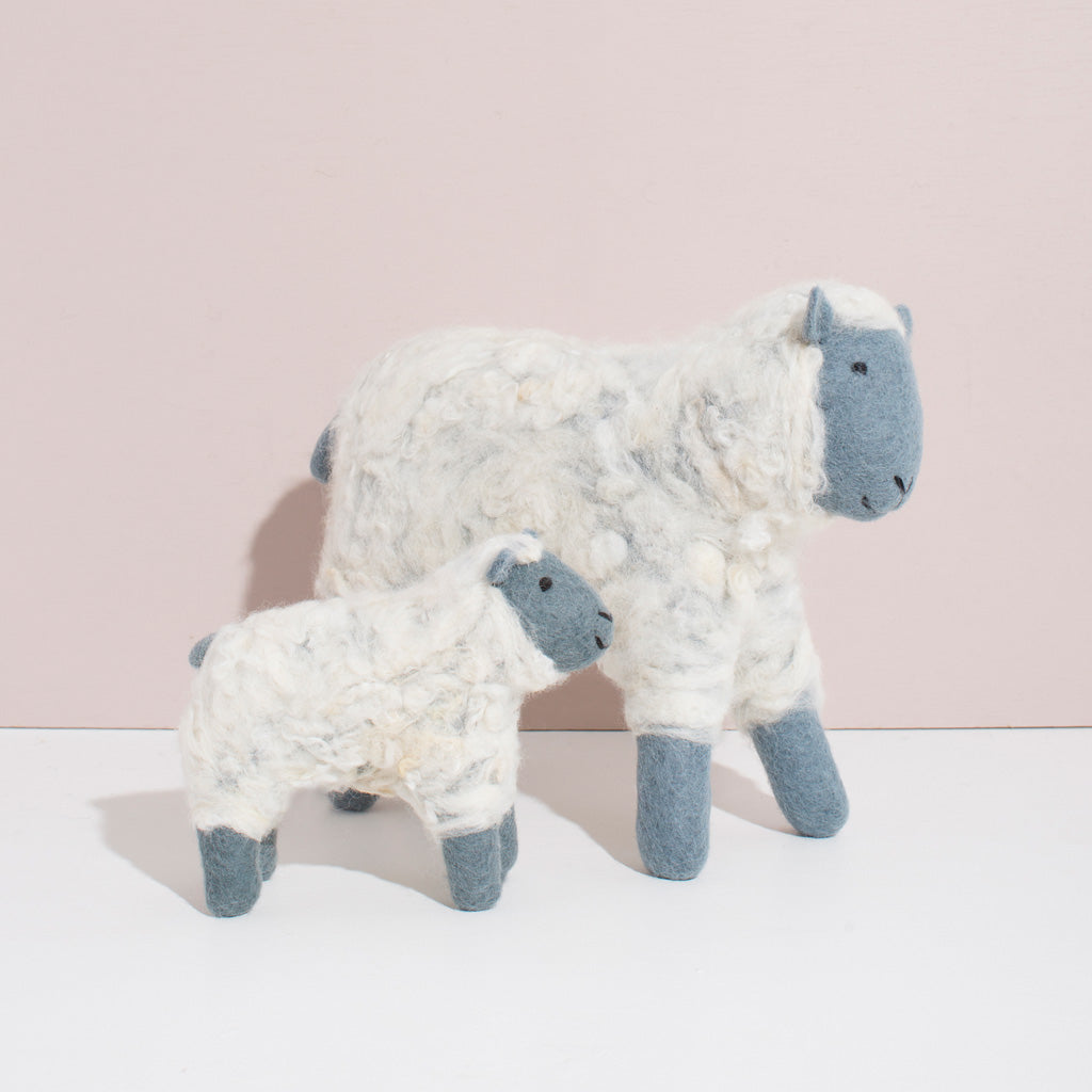 MULXIPLY Hand Felted Grey Sheep Duo Stuffed Animals