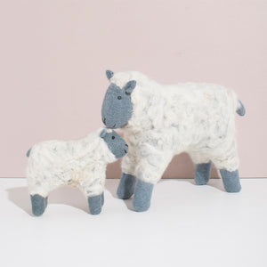 Hand Felted Grey Sheep Duo