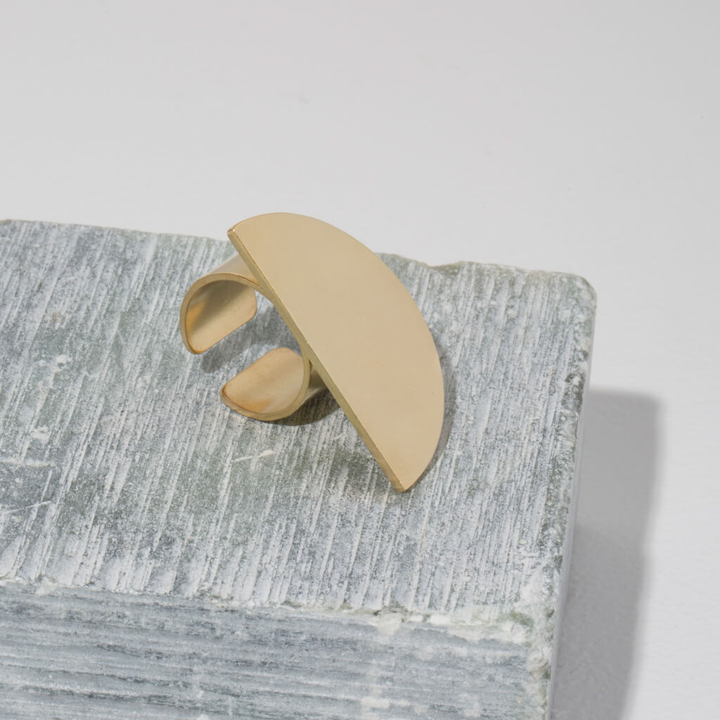 Ethically hand forged brass adjustable ring  by MULXIPLY