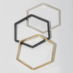 Hexagon Bangles - Mixed Metals