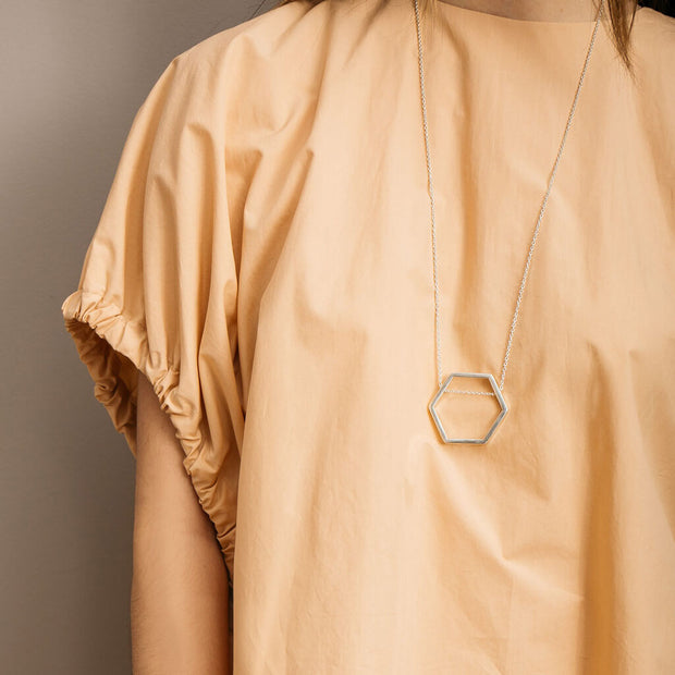 Hexagon Pendant Necklace | Sterling Silver 1